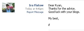 Ira Flatow Responds to My Friend Request