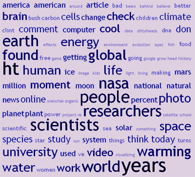 Science Etcetera 2008 Tag Cloud