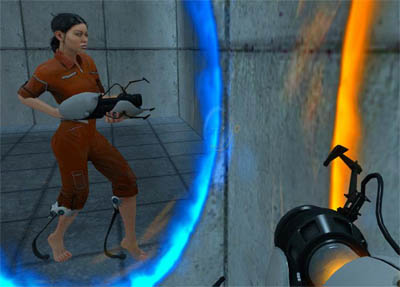 You Play Chell, an Orphan of Bring Your Daughter to Work Day and Equipped with Heel Springs to Survive Falls. This Screenshot was captured by Opening two portals next to each other and looking through