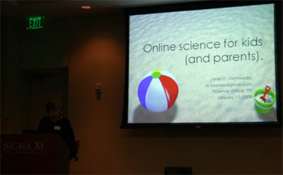 Janet Stemwedel of Adventures in Ethics and Science blog moderates a session on Science Online for Kids (and Parents).