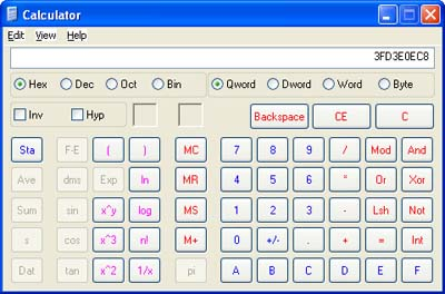 Windows Calculator, Scientific Mode