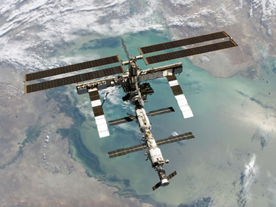 The ISS photographed from shuttle Discovery in 2006