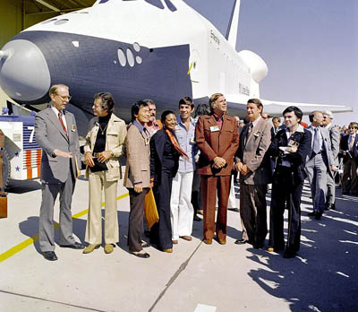 Cast of Star Trek in front of the Space Shuttle Enterprise