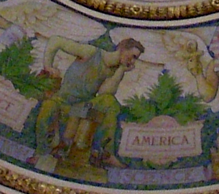 Detail of America as Science in the Jefferson Reading Room Dome