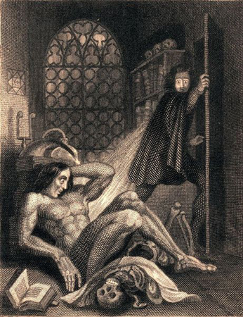 Frontispiece to the revised edition of Frankenstein by Mary Shelley