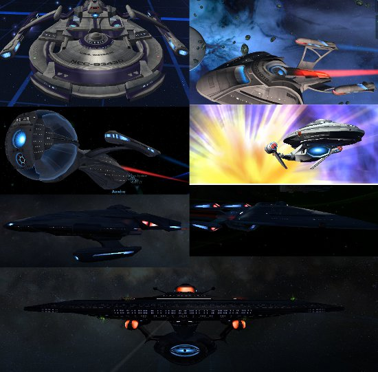 The ships I earned in STO Waygate, Asimov, Beagle, Sagan, Odyssey, Feynman, and the Enlightenment.
