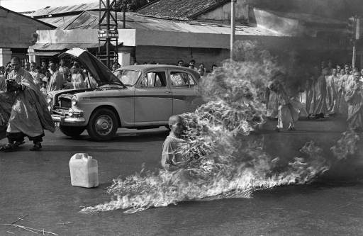 Journalist Malcolm Browne's photograph of Thich Quang Duc during his self-immolation.