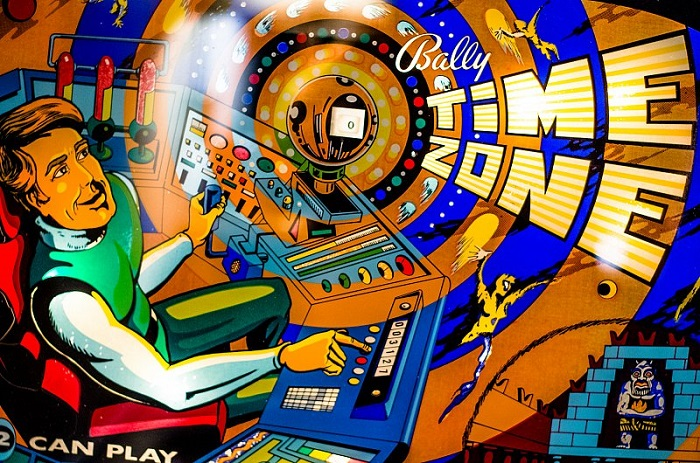Bally Time Zone / Space Time Pinball Backglass